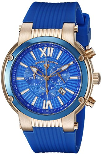 Swiss Legend Legato Cirque 10006-RG-03-BLB 49mm Ion Plated Stainless Steel Case Silicone Rubber Sapphire Crystal Men's Watch