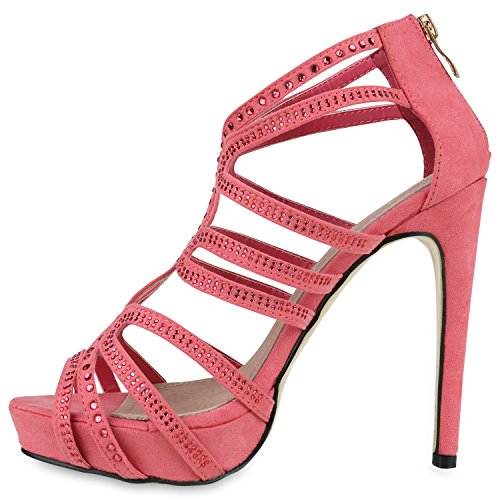 bf2ab1ba34ffe Damen Sandaletten High Heels Strass Plateau Stilettos Party Schuhe ...
