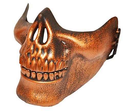 Komonee Bronze halb Schädel Halloween Maske ()