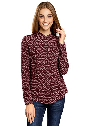 Oodji collection donna camicetta in viscosa stampata con collo alla coreana, rosso, it 50 / eu 46 / xxl