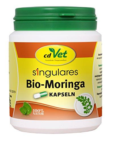 cdVet Naturprodukte Singulares Bio-Moringa 200 Kapseln - Hund, Katze, Pferd Kaninchen -  Einzelfuttermittel - Reich an Vitaminen+Nährstoffen+Aminosäuren+ Eisen - aus ökologischem Anbau -