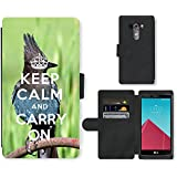 PU Cuir Flip Etui Portefeuille Coque Case Cover véritable Leather Housse Couvrir Couverture Fermeture Magnetique Silicone Support Carte Slots Protection Shell // Q01014393 keep calm and carry on 682 // LG G4 H815