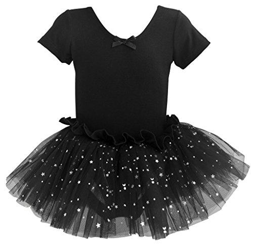 zarm Ballettkleid Ballettanzug mit Tutu 128/134 Schwarz (Kinder Tutu Schwarz)