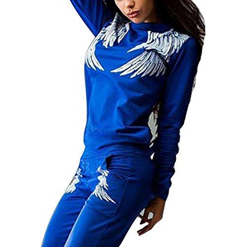 Sfit 2 Pièce Ensemble Femme Survêtement T-shirt Manches Longues Pantalon Longues Imprime Plumes Gym Yoga Jogging Fitness Casual Respirable Bleu