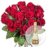 18 rote Rosen und Freixenet Semi Seco