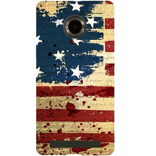 Casotec USA Flag Design Hard Back Case Cover for Micromax YU Yuphoria AQ5010 / AO5010