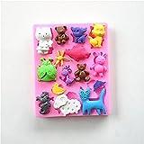 LC Back- und Fondantform X1148 Katze, Schaf und Kaninchen, aus Silikon, für Kuchen, Schokolade, zum Backen, Zuckerpaste, Dekorieren