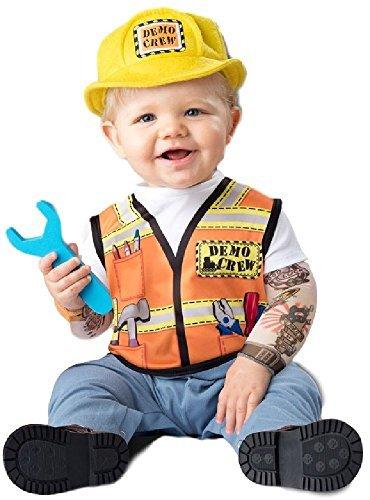 Bauarbeiter Outfit (Baby Jungen Mädchen Bauarbeiter Bauarbeiten Demo Rundhals Welttag des Buches Woche Job Verkleidung Kostüm Kleidung 6-24 Monate - 12-18)
