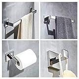 4-Piece Modern Chrome Bathroom Accessories Set - Towel Rail, Towel Ring, Toilet Roll Holder, Coat Hook