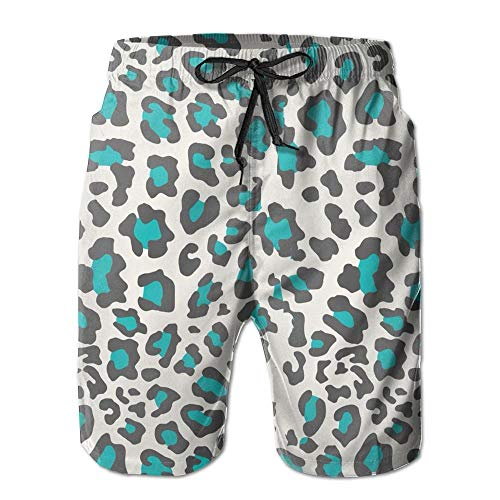Pillow Socks Cheetah Print Blue Men's Summer Casual Swimming Shorts Beach Board Shorts XX-Large