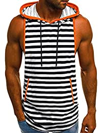 Homme Rayures Débardeur à Capuche de Running Maillot sans Manches Gym  Stringer T-Shirt sous-vêtements Fitness… a13fa8ca2a3