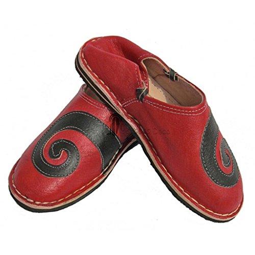 Babouche berbere design spirale Rouge et Noir