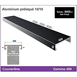 COUVERTINE/COUVRE-MUR - GAMME 400 - POUR MURET, ACROTERE OU TOIT TERRASSE (longueur 3000 mm, RAL 9005 SATINE NOIR FONCE)