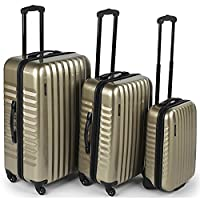 Constellation Athena Metallic Gold 3 Piece 4 Wheel Luggage Set