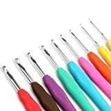 Zedtom Juego de 9agujas de ganchillo de 2/2,5/3/3,5/4/4,5/5/5,5/6mm agujas de ganchillo de aluminio con mango de goma de colores DIY