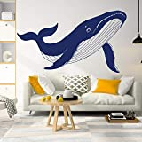 hetingyue Geometria Grande Marlin Sala Giochi Scuola Materna Adesivo murale Animale Nautico Balena Cartone Animato Adesivo da Parete Balena Pesce di Mare Camera da Letto Vinile Arte 56x32cm