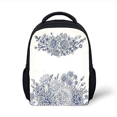 Kids School Backpack Blue,Artistic Floral Bouquet Corsage Carnations Chamomiles Bridal Wedding Anniversary Theme,Blue White Plain Bookbag Travel Daypack -