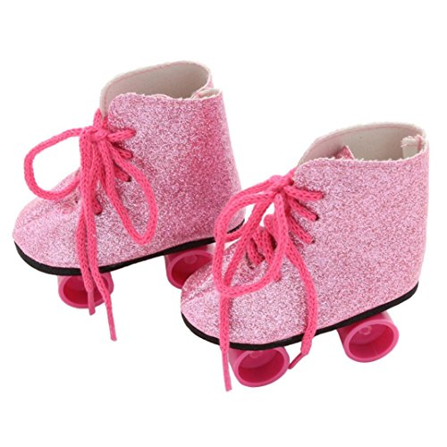 HKFV Doll Roller Skates Rosa 18-Zoll-Puppe Schuhe Rollschuhe Schuhe Glitter Puppe Roller Skates für 18 Zoll unsere Generation American Girl Doll (Pink)