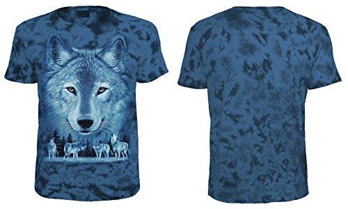 Tiermotiv T-Shirt Wolfsrudel Blau Batik Blau Batik