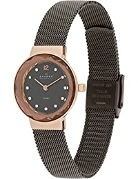 Skagen Damen-Armbanduhr Steel Analog Quarz One Size, anthrazit, rosé/braun/anthrazit