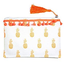 101 Beach Mini Pom Pom Trim Summer Print Beach Zipper Pouch Bag ,