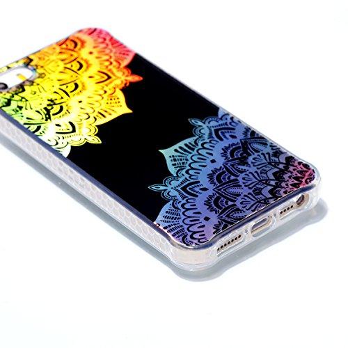 Apple iPhone 5 5G 5S SE Hülle, Voguecase Schutzhülle / Case / Cover / Hülle / Plating TPU Gel Skin (Transparente-Bunt Durchstochen 08) + Gratis Universal Eingabestift Schwarz-Bunt Durchstochen 09
