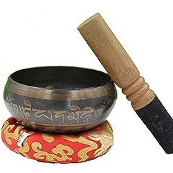 Cuenco tibetano meditacion,Incluye Almohadilla y Baqueta,14.5cm,material cobre,sonido es limpio y claro,100% origen Nepal, Fit yoga o meditar.