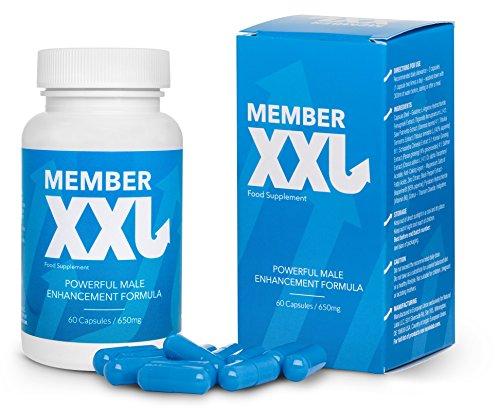 ✅MEMBER XXL Premium Potenzmittel & Penisvergrößerung + 9cm, Potenz-und Erektionshilfe für alle Männer, Basispaket 1x60 Kapseln / 1x650 mg