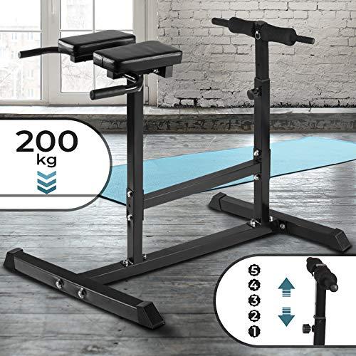 Physionics Rückentrainer Geräte - Höhenverstellbar (5-stufig), mit Gepolsterter Beinfixierung, Max. Belastung 200 kg - Bauchtrainer, Hyperextension, Rückenstrecker