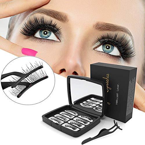 Magnetische Wimpern,3D Künstliche Wimpern Set,Ultra dünn Wiederverwendbare Falsche Dual Magnetic Eyelashes, 2 Paar 8 Stück