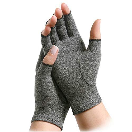 Kompressions-Arthritis-Handschuhe, Lanking entlasten Symptome Krankheit Karpaltunnel-aktive Handbehandlung Fingerlose erhöhen die Zirkulation, die Schmerz verringert (Grau, L) -