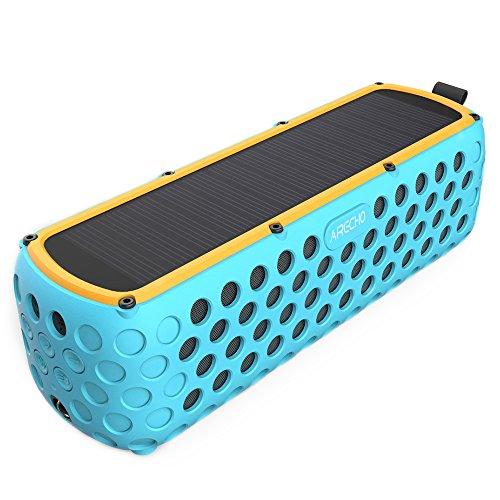 Airecho Solar Bluetooth Altavoz 30-Hour Playtime Dual-driver HD estéreo sin pérdida de audio portátil inalámbrico Bluetooth 4.0 Altavoz para el deporte al aire libre (a prueba de salpicaduras y a prueba de golpes)-Azul