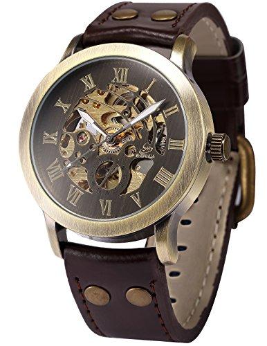 Herren-Armbanduhr, braunes Zifferblatt, mechanisch, automatisch, analog, Lederarmband PMW198 (Zeit Automatische Einstellen Der Uhr)