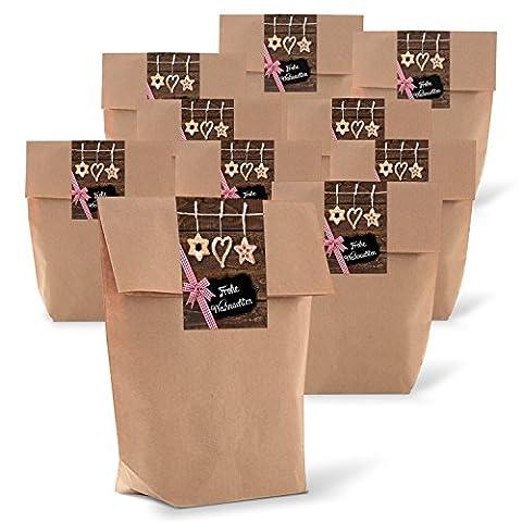 """25 braune Geschenktüten zu Weihnachten mit Boden (14 x 22 x 5,6 cm) Kraft-Papier-Tüten + 25 Weihnachts-Aufkleber Sticker """"Frohe Weihnachten"""" mit Stroh-Schmuck zum liebevollen Verpacken von Weihnachtsgeschenken"""