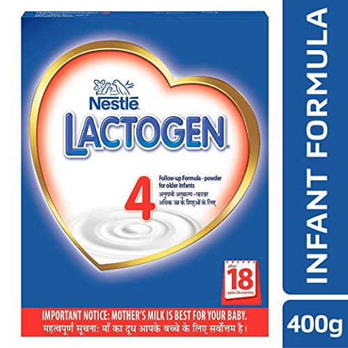 Nestle LACTOGEN 4 Follow-Up Formula Powder - After 18 months upto 24 months, Stage 4, 400g BIB Pack