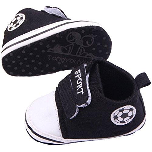 Bigood Fussball Stil Baby Junge Krabbelschuhe Lauflernschuhe Baby Schuh Schwarz