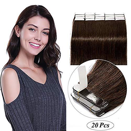 Extension biadesivo capelli veri adesive naturali #2 castano scuro 100% remy human hair lisci 30cm tape extensions biadesive 20 fasce 40g 2g/fascia