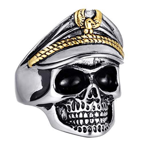 Blisfille Ringe Männer Wikinger Goldener Ring Gothic Titanring Schädel Totenkopf Silber Gold Größe 60 (19.1)
