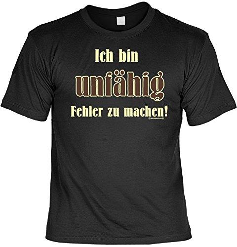 Fun T-Shirt Ich bin unfähig Fehler zu machen Shirt bedruckt Geschenk Set mit Mini Flaschenshirt Schwarz