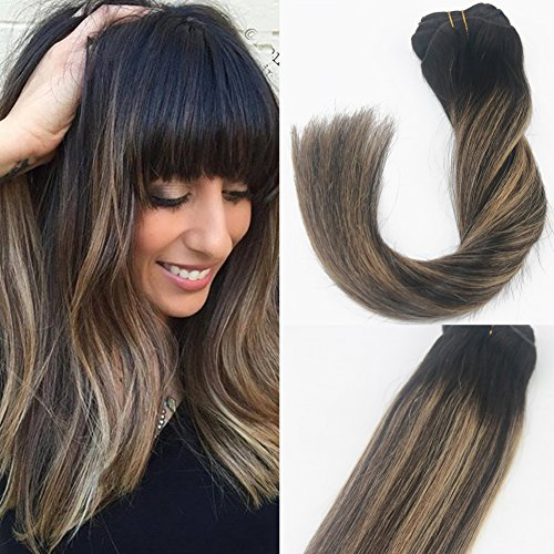 Shangxiu Haarverlängerung, 14 inch 120g, , Darkest Brown to Light Brown 2/27# (Blonde Hervorhebung)