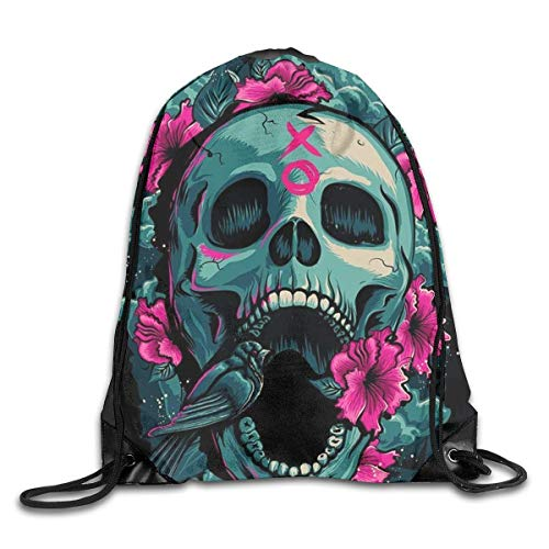 HLKPE Pink Rose Cool Fierce Skull Drawstring Backpack Waterproof Drawstring Backbag Outdoor Travel Sports Gym Storage Bag for Men and Women - Heavy-duty High-volume