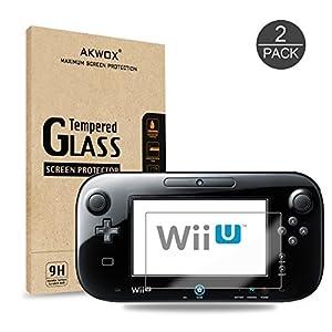2 Stück Schutzfolie für Nintendo Wii U Akwox 9H Härtegrad Panzerfolie Displayschutz Glasfolie Kratzfest HD
