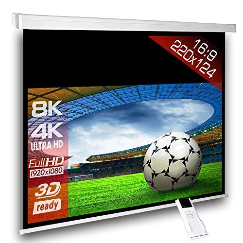 SlenderLine Motorleinwand 220 x 124cm | 1.2 Gain | Format 16:9 | schwarzer Vorlauf 50cm | 2D & 3D | FULL-HD 4K 8K Ultra-HD | elektrische Beamer Leinwand für Heimkino & Präsentation | inkl. Fernbedienung | geeignet für LCD DLP & LED - 2d-zu-3d-projektor