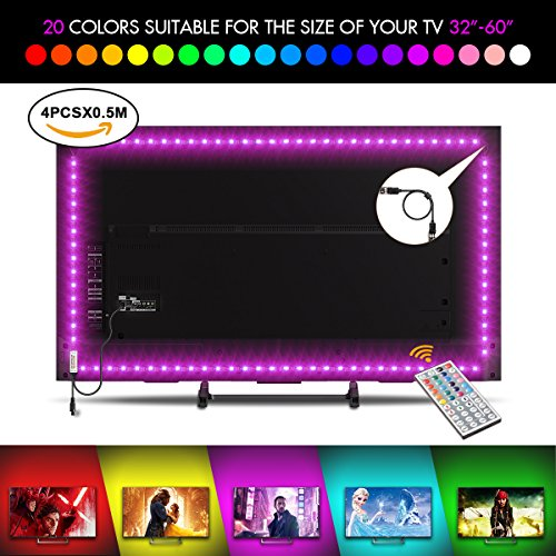 Tira LED TV Back light TV Tira LED Iluminación Luz Interior Coche,4*50cm Bonega LED Iluminación Interior del Coche Multicolor Flexible Tira de Led Kit Con mando 20 colores Luz trasera para TV LCD pantalla planta,Monitores para ordenador,Televisores hasta 32 40 42 50 55 60""