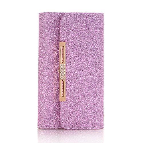 Galaxy Geldbörse Handyhülle, Frauen Mode Candy Farbe Bling Shiny Glänzend PU Leder Flip Lady Multi Umschlag Wristlet Handtasche Kupplung Brieftasche Fall mit Kreditkarte Halter für Galaxy S9 violett