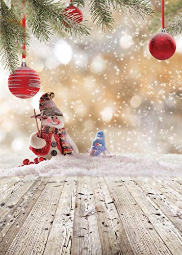 LYWYGG 5x7ft Frohe WeihnachtenWeihnachtskugel Snow Floor Foto Hintergrund Weiß Schneeflocke Holz Hintergrund Weihnachtsdekoration Kulissen für Studio Prop CP-79