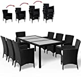 Deuba® Poly Rattan Sitzgruppe 8+1 Schwarz | 8 stapelbare Stühle | wetterfestes Polyrattan - 2