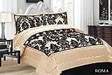 3tlg. Creme Tagesdecke 240x260cm Bettüberwurf Moderne Taft Samt Flockdruck Barock Bettdecke Ornamente
