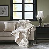 JLA Home INC Parker Corduroy Plush Accent Throw Pillow, Lodge/Cabin Square Decorative Pillow, 20X20, Ivory