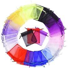 Bolsas de Organza de Regalo para Boda Favores y Joyas, 100 Piezas, Tamaño Medio, Colores Variados